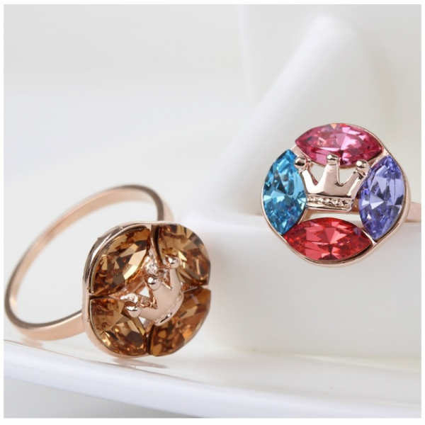 Ouxi - 40065-2 - Bague ornée de cristal SWAROVSKI ELEMENTS Marron